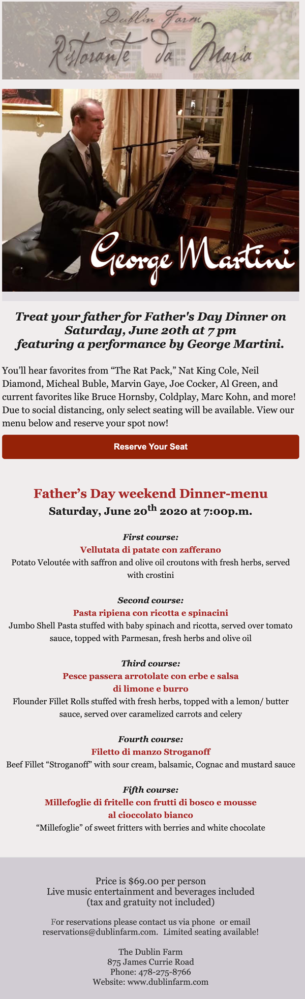 father's day dinner at dublin farm